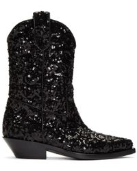 Dolce & Gabbana - Black Sequin Cowboy Boots - Lyst
