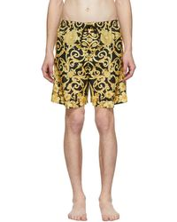 Versace - Black And Gold Barocco Print Swim Shorts - Lyst