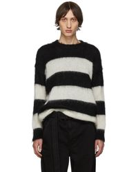 Isabel Benenato ブラック And ホワイト オープン ストライプ セーター