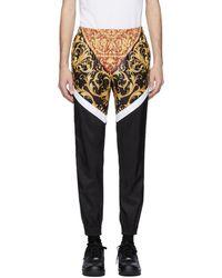 Versace - ブラック And ホワイト Barocco トラック パンツ - Lyst