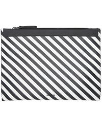 Lanvin - Black And White Striped Pouch - Lyst