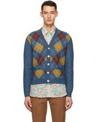 Gucci Cardigan en laine à motif argyle bleu