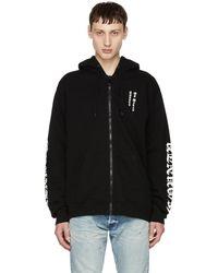 Marcelo Burlon - Black Logo Zip Hoodie - Lyst