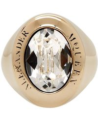 Alexander McQueen - Gold And Crystal Jewelled Logo Ring - Lyst