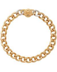 Versace Gold & Silver Medusa Coin Necklace - Metallic