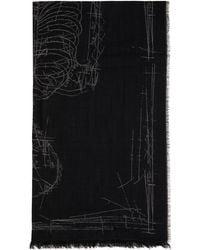 Alexander McQueen ブラック Skeleton マフラー