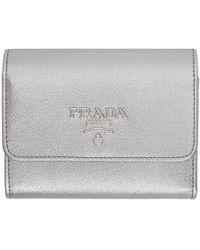 Prada - Silver Saffiano Trifold Wallet - Lyst