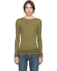 Saint Laurent Khaki Ribbed Jersey T-shirt - Green