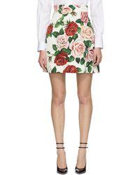 Dolce & Gabbana - Multicolor Brocade Peony Miniskirt - Lyst