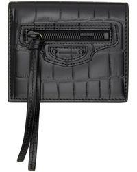 Balenciaga ブラック クロコ Neo Classic Flap カード ケース