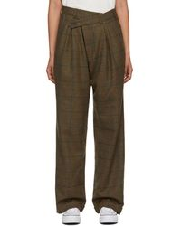 R13 Green Wool Triple Pleat Crossover Trouser