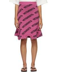 Vetements ピンク ニット ロゴ スウェットシャツ スカート