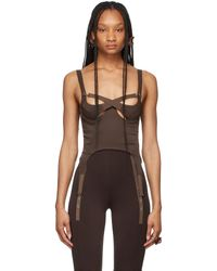 CHARLOTTE KNOWLES Ssense Exclusive Brown Tactical Bustier Tank Top