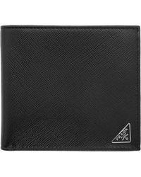 Prada | Black Triangle Logo Wallet | Lyst