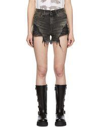 R13 - Black Shredded Slouch Shorts - Lyst