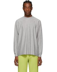 Homme Plissé Issey Miyake グレー Release T1 ロング スリーブ T シャツ