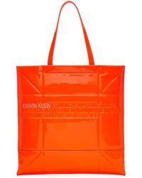 CALVIN KLEIN 205W39NYC オレンジ スモール ジオメトリック トート