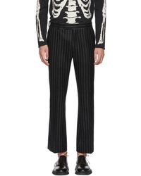 Alexander McQueen - Black And White Pinstripe Wool Trousers - Lyst