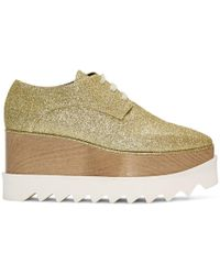 Stella McCartney - Gold Glitter Elyse Derbys - Lyst