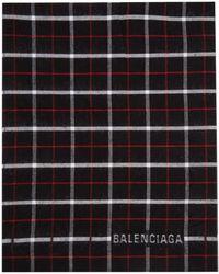 Balenciaga ブラック チェック ダブル フェイス スカーフ