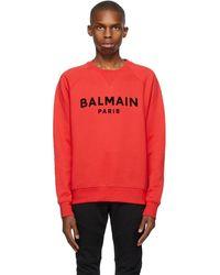 Balmain - レッド ロゴ スウェットシャツ - Lyst