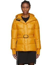 Orange Down Short Belted Puffa Jacket