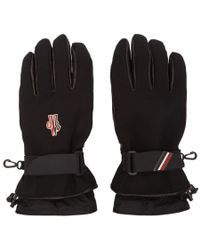 Moncler Grenoble - Black Canvas And Lambskin Gloves - Lyst