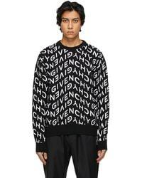 Givenchy - ブラック & ホワイト Refracted ロゴ セーター - Lyst