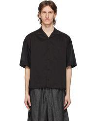 Fumito Ganryu ブラック オープン カラー コンビネーション シャツ