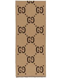 Gucci - Brown And Beige Gg Wool Scarf - Lyst