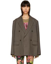 Junya Watanabe - Brown Pinstriped Oversized Blazer - Lyst
