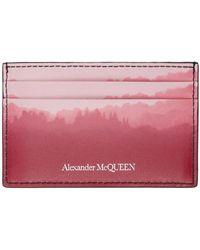 Alexander McQueen バーガンディ & ピンク カード ケース