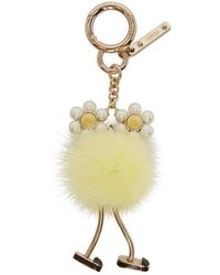 Fendi - Yellow Pearl And Fur Chick Charm - Lyst