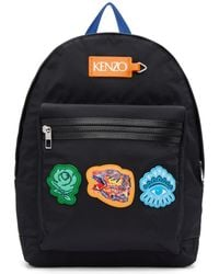 KENZO - Black Icon Patch Backpack - Lyst