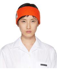 Prada - Orange Wool Logo Headband - Lyst