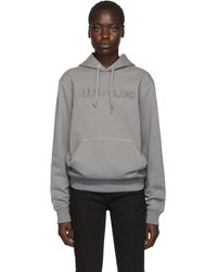 Helmut Lang Pull a capuche gris Embroidered Logo Standard