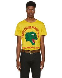 36922d3d Gucci - Yellow Privilegium Perfectuum Panther T-shirt - Lyst