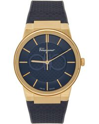 Ferragamo ネイビー チェック サファイア 腕時計 - ブルー