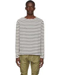 R13 ブラック & オフホワイト Breton ロング スリーブ T シャツ