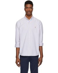 Polo Ralph Lauren - Purple And White Striped Oxford Shirt - Lyst
