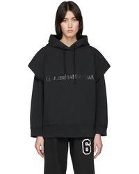MM6 by Maison Martin Margiela Logo Cotton Sweatshirt Hoodie - Black