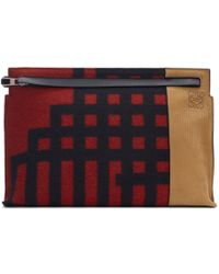 Loewe - Red And Black Grid T Pouch - Lyst
