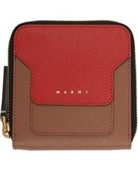 Marni - レッド & ブラウン ジップアラウンド ウォレット - Lyst