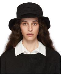 Y's Yohji Yamamoto Black Crepe De Chine Gathered Hat