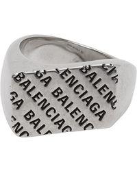 Balenciaga Silver Precious Logo Rectangle Ring - Metallic