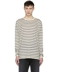 Nonnative - Off-white And Navy Striped Manager Sweater - Lyst