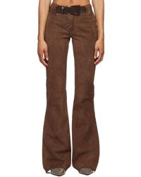 CHARLOTTE KNOWLES Burgundy Suede Whip Trousers - Brown