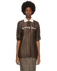 Burberry ブラウン オーバーサイズ プリッセ ポロシャツ