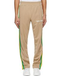Palm Angels Beige Striped Classic Track Trousers - Natural