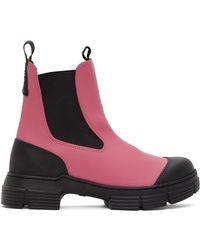 Ganni - ピンク & ブラック リサイクル ラバー チェルシー ブーツ - Lyst